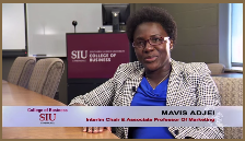 Dr. Mavis Adjei sits in a conference room
