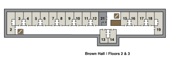 2nd floor plane of brown hall