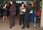 Students at career fair booths