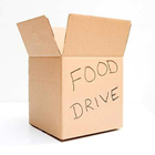 image of a cardboard box with Food Drive written on the side