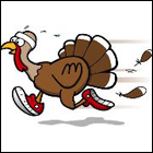 graphic of a turkey running in tennis shoes