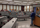 Dr. Peter Mykytyn pictured speaking to students in a Lawson Hall class room.