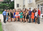 SIU students gather at their graduation dinner in France