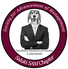 SAM logo with image of saluki dog in a man's suit